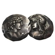 "George W. Shiebler Victorian Sterling Silver Medallion Etruscan ""Homeric"" Roman design Brooch"
