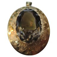 Edwardian Engraved Floral 14k Gold Faceted Smoky Topaz Quartz Pendant