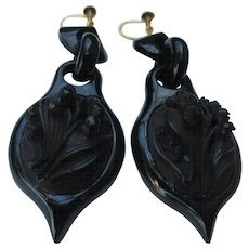 Whitby Jet Victorian Mourning Chandelier Earrings Lily of the Valley Flower