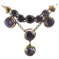 1940's Synthetic Alexandrite Necklace in 10 Karat Rose Gold