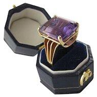 1940's Era Amethyst Ring in 14 Karat Yellow Gold, Size 6+
