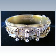 Etruscan Victorian Hinged Bangle Bracelet in 18 Karat Yellow Gold