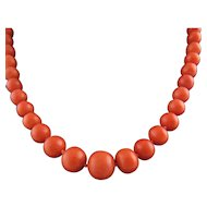 Antique Victorian Beaded Coral Necklace with 18K gold Clasp Chinese strand (Recently Restrung on Silk)