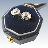 European Cut Diamond Stud Earrings 1.32 TCW.  Set in 18 KWG
