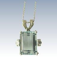 Aquamarine Pendant in Platinum Art Deco