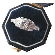 Vintage Old European Cut Diamond Ring Art Deco