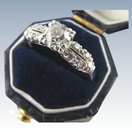 Old European Cut .58 Center in Platinum Diamond Ring