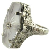 Camphor Glass Ring with Small Diamond in 10KWG