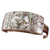 Art Deco Platinum 1.35 Carat Old European Cut Diamond Ring