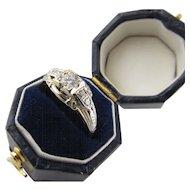 Art Deco Vintage .25 Diamond Ring in 18 Karat White Gold Belias