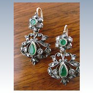 14 Karat Vintage Day and Night Earrings with Emeralds and Rose Cut Diamonds (for pierced ears)