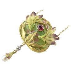 Victorian Plique-a-Jour Floral Pendant with Necklace in 18 Karat Gold
