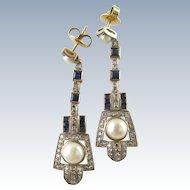 Art Deco 18 Karat Sapphire, Pearl, and Diamond Drops Circa 1930