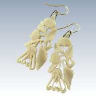 Antique Chinese Carved Earrings, Buddha's Hand Fruit 14K Gold