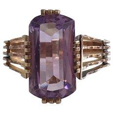 Vintage Art Deco Amethyst 14K Rose Gold Ring
