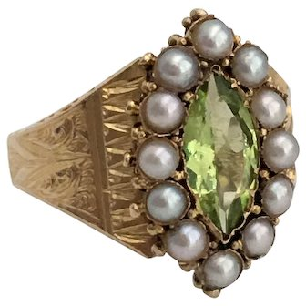 Victorian Peridot Seed Pearl Engraved 15K Gold Ring