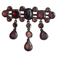 Georgian Cabochon Garnet Sterling Pin Brooch