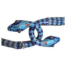 Art Deco Enamel Sterling Snake Necklace