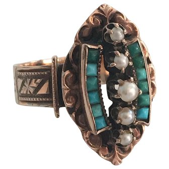 Victorian 14K Rose Gold Turquoise Pearl Ring circa 1895