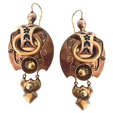 Victorian Russian 14K Gold Articulating Enamel Repousse Earrings