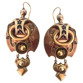 Victorian Russian 14K Gold Articulating Enamel Repousse Earrings