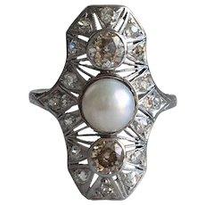 Edwardian 1+ ct TW Diamond and Pearl Platinum Ring