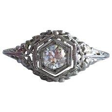 Vintage Filigree 1/3ct Diamond 18K Gold Ring