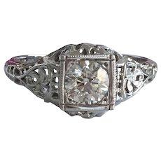 Vintage Filigree 1/2ct Diamond 18K Gold Ring