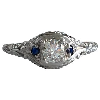 Filigree 1/3ct Diamond and Sapphire 18K Gold and Platinum Ring