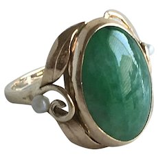 Art Nouveau 14K Jade and Pearl Ring