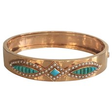 Victorian Turquoise & Seed Pearl 14K Rose Gold Bracelet