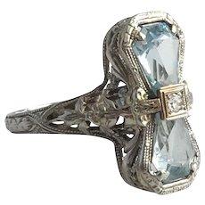 Edwardian Aquamarine 18K White Gold Filigree Ring