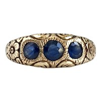 Vintage 14K Sapphire Hand Tooled Ring
