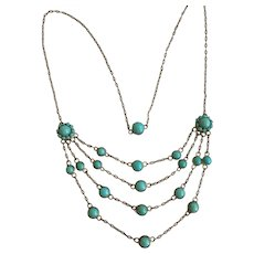 Victorian Turquoise Silver Necklace
