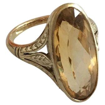 Victorian Citrine 14K Vintage Ring
