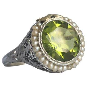 Victorian Peridot Seed Pearl 14K White Gold Filigree Ring