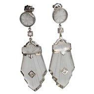 Art Deco 14K Diamond & Carved Rock Crystal Earrings