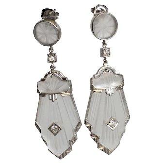 Art Deco 14K Diamond & Carved Rock Crystal Earrings
