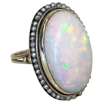 Victorian 14K Yellow Gold 9ct Opal and Pearl Ring
