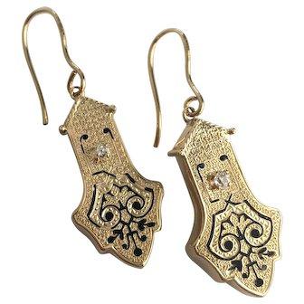 Victorian Diamond Repousse Enamel 14K Gold Drop Earrings
