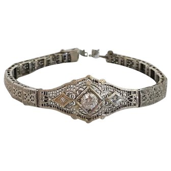 Vintage Filigree .54ct Diamond & 14K White Gold Bracelet