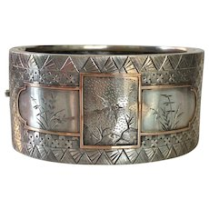 Victorian Sterling & Rose Gold Asian Pattern Bracelet Cuff