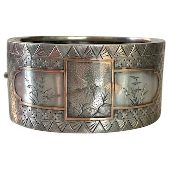 Victorian Sterling & Rose Gold Asian Pattern Bracelet Cuff