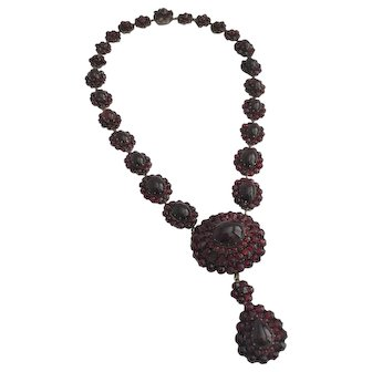 Victorian Silver Gilt Bohemian Garnet Necklace