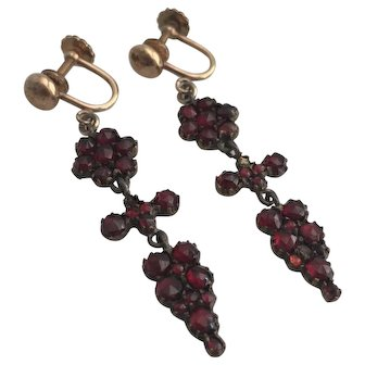 Victorian Silver Gilt Bohemian Garnet Earrings