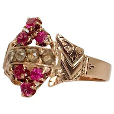 Victorian Rose Cut Diamond and Ruby 14K Rose Gold Ring