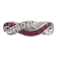 Art Deco Diamond & French Cut Ruby Platinum Ring Band