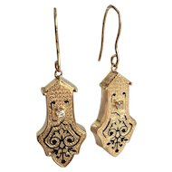 Victorian Diamond Repousse Enamel 14K Gold Drop Earrings
