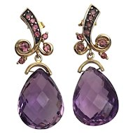 Vintage Amethyst 14K Gold Earrings