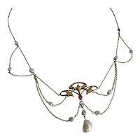 Art Nouveau 14K Pearl & Ruby Festoon Necklace